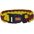 USC Trojans Survivor Bracelet - Our functional and fashionable USC Trojans survivor bracelets contain 2 individual 300lb test paracord rated cords that are each 5 feet long. The team colored cords can be pulled apart to be used in any number of emergencies and look great while worn. The bracelet features a team emblem on the clasp. Thank you for shopping with CrazedOutSports.com