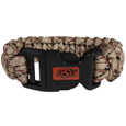 Oklahoma St. Cowboys Camo Survivor Bracelet - Our functional and fashionable Oklahoma St. Cowboys camo survivor bracelets contain 2 individual 300lb test paracord rated cords that are each 5 feet long. The camo cords can be pulled apart to be used in any number of emergencies and look great while worn. The bracelet features a team emblem on the clasp.  Thank you for shopping with CrazedOutSports.com