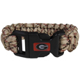Georgia Bulldogs Camo Survivor Bracelet - Our functional and fashionable Georgia Bulldogs camo survivor bracelets contain 2 individual 300lb test paracord rated cords that are each 5 feet long. The camo cords can be pulled apart to be used in any number of emergencies and look great while worn. The bracelet features a team emblem on the clasp.  Thank you for shopping with CrazedOutSports.com