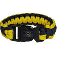 W. Virginia Mountaineers Survivor Bracelet - Our functional and fashionable W. Virginia Mountaineers survivor bracelets contain 2 individual 300lb test paracord rated cords that are each 5 feet long. The team colored cords can be pulled apart to be used in any number of emergencies and look great while worn. The bracelet features a team emblem on the clasp. Thank you for shopping with CrazedOutSports.com
