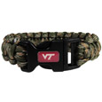 Virginia Tech Hokies Camo Survivor Bracelet - Our functional and fashionable Virginia Tech Hokies camo survivor bracelets contain 2 individual 300lb test paracord rated cords that are each 5 feet long. The camo cords can be pulled apart to be used in any number of emergencies and look great while worn. The bracelet features a team emblem on the clasp.