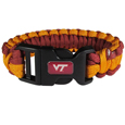 Virginia Tech Hokies Survivor Bracelet - Our functional and fashionable Virginia Tech Hokies survivor bracelets contain 2 individual 300lb test paracord rated cords that are each 5 feet long. The team colored cords can be pulled apart to be used in any number of emergencies and look great while worn. The bracelet features a team emblem on the clasp.