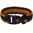 Syracuse Orange Survivor Bracelet - Our functional and fashionable Syracuse Orange survivor bracelets contain 2 individual 300lb test paracord rated cords that are each 5 feet long. The team colored cords can be pulled apart to be used in any number of emergencies and look great while worn. The bracelet features a team emblem on the clasp. Thank you for shopping with CrazedOutSports.com
