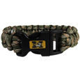 Missouri Tigers Camo Survivor Bracelet - Our functional and fashionable Missouri Tigers camo survivor bracelets contain 2 individual 300lb test paracord rated cords that are each 5 feet long. The camo cords can be pulled apart to be used in any number of emergencies and look great while worn. The bracelet features a team emblem on the clasp.  Thank you for shopping with CrazedOutSports.com