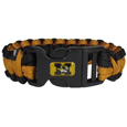 Missouri Tigers Survivor Bracelet - Our functional and fashionable Missouri Tigers survivor bracelets contain 2 individual 300lb test paracord rated cords that are each 5 feet long. The team colored cords can be pulled apart to be used in any number of emergencies and look great while worn. The bracelet features a team emblem on the clasp. Thank you for shopping with CrazedOutSports.com