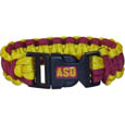 Arizona St. Sun Devils Survivor Bracelet - Our functional and fashionable Arizona State Sun Devils survivor bracelets contain 2 individual 300lb test paracord rated cords that are each 5 feet long. The team colored cords can be pulled apart to be used in any number of emergencies and look great while worn. The bracelet features a team emblem on the clasp. Thank you for shopping with CrazedOutSports.com