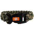 Clemson Tigers Camo Survivor Bracelet - Our functional and fashionable Clemson Tigers camo survivor bracelets contain 2 individual 300lb test paracord rated cords that are each 5 feet long. The camo cords can be pulled apart to be used in any number of emergencies and look great while worn. The bracelet features a team emblem on the clasp.  Thank you for shopping with CrazedOutSports.com