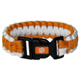 Clemson Tigers Survivor Bracelet - Our functional and fashionable Clemson Tigers survivor bracelets contain 2 individual 300lb test paracord rated cords that are each 5 feet long. The team colored cords can be pulled apart to be used in any number of emergencies and look great while worn. The bracelet features a team emblem on the clasp. Thank you for shopping with CrazedOutSports.com