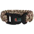Miami Hurricanes Camo Survivor Bracelet - This functional and fashionable Miami Hurricanes camo survivor bracelet contains 2 individual 300lb test paracord rated cords that are each 5 feet long. The camo cords can be pulled apart to be used in any number of emergencies and look great while worn. The bracelet features a team emblem on the clasp.  Thank you for shopping with CrazedOutSports.com