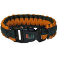 Miami Hurricanes Survivor Bracelet - This functional and fashionable Miami Hurricanes survivor bracelet contains 2 individual 300lb test paracord rated cords that are each 5 feet long. The team colored cords can be pulled apart to be used in any number of emergencies and look great while worn. The bracelet features a team emblem on the clasp. Thank you for shopping with CrazedOutSports.com