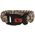 Oregon St. Beavers Camo Survivor Bracelet - Our functional and fashionable Oregon St. Beavers camo survivor bracelets contain 2 individual 300lb test paracord rated cords that are each 5 feet long. The camo cords can be pulled apart to be used in any number of emergencies and look great while worn. The bracelet features a team emblem on the clasp.  Thank you for shopping with CrazedOutSports.com