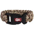 Montana Grizzlies Camo Survivor Bracelet - Our functional and fashionable Montana Grizzlies camo survivor bracelets contain 2 individual 300lb test paracord rated cords that are each 5 feet long. The camo cords can be pulled apart to be used in any number of emergencies and look great while worn. The bracelet features a team emblem on the clasp.