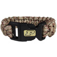 Purdue Boilermakers Camo Survivor Bracelet - Our functional and fashionable Purdue Boilermakers camo survivor bracelets contain 2 individual 300lb test paracord rated cords that are each 5 feet long. The camo cords can be pulled apart to be used in any number of emergencies and look great while worn. The bracelet features a team emblem on the clasp.