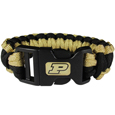 Purdue Boilermakers Survivor Bracelet - Our functional and fashionable Purdue Boilermakers survivor bracelets contain 2 individual 300lb test paracord rated cords that are each 5 feet long. The team colored cords can be pulled apart to be used in any number of emergencies and look great while worn. The bracelet features a team emblem on the clasp.