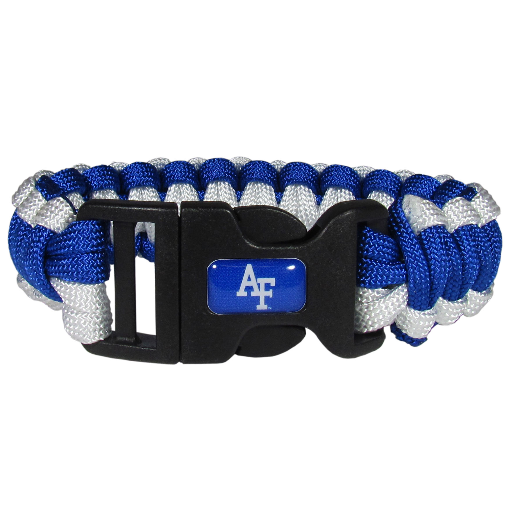 US Air Force Academy Survivor Bracelet - Our functional and fashionable US Air Force Academy survivor bracelets contain 2 individual 300lb test paracord rated cords that are each 5 feet long. The team colored cords can be pulled apart to be used in any number of emergencies and look great while worn. The bracelet features a team emblem on the clasp.