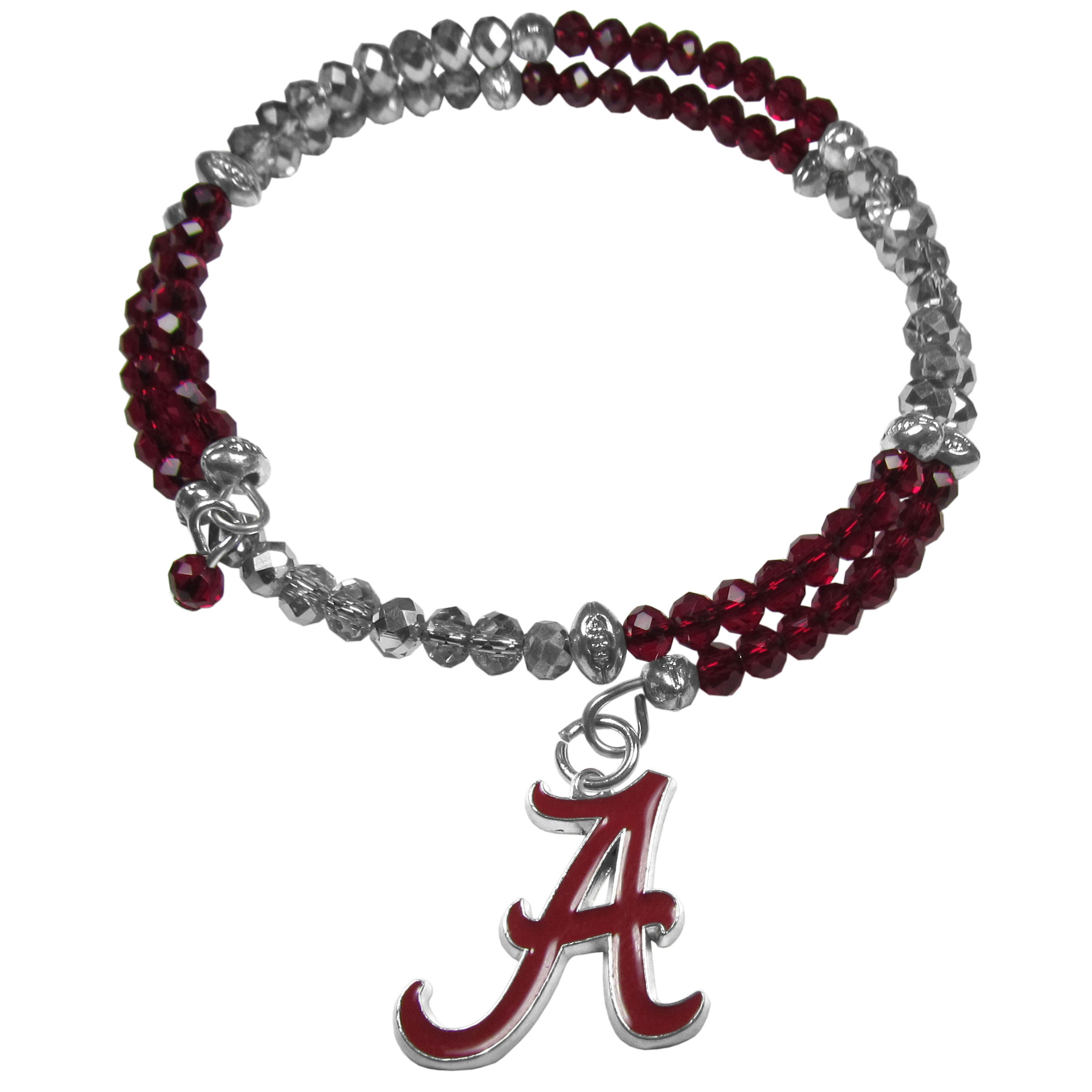 Alabama Crimson Tide Crystal Memory Wire Bracelet - Our Alabama Crimson Tide memory wire crystal bracelet is trendy way to show off your love of the game. The double wrap bracelet is completely covered in 4 mm crystals that are broken up with adorable football beads creating a designer look with a sporty twist. The bracelet features a fully cast, metal team charm that has expertly enameled team colors. This fashion jewelry piece is a must-have for the die-hard fan that chic look that can dress up any outfit.