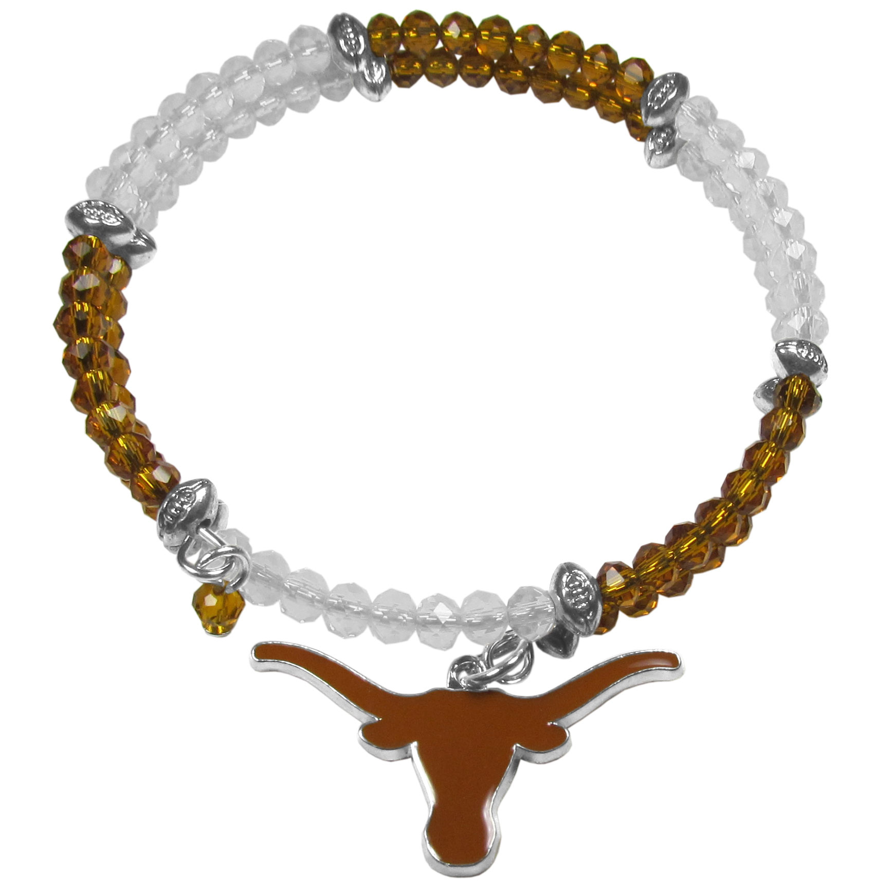 Texas Longhorns Crystal Memory Wire Bracelet - Our Texas Longhorns memory wire crystal bracelet is trendy way to show off your love of the game. The double wrap bracelet is completely covered in 4 mm crystals that are broken up with adorable football beads creating a designer look with a sporty twist. The bracelet features a fully cast, metal team charm that has expertly enameled team colors. This fashion jewelry piece is a must-have for the die-hard fan that chic look that can dress up any outfit.