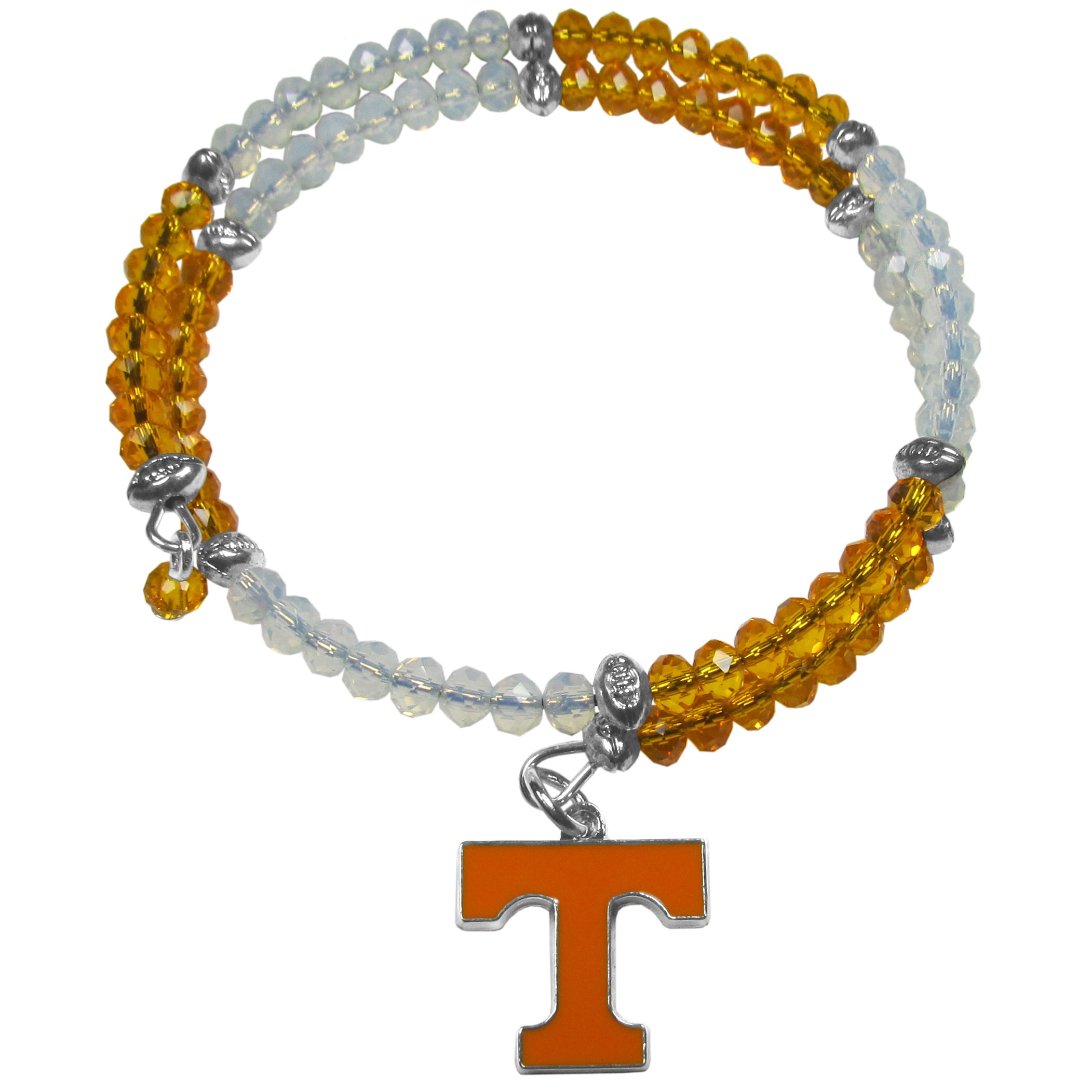 Tennessee Volunteers Crystal Memory Wire Bracelet - Our Tennessee Volunteers memory wire crystal bracelet is trendy way to show off your love of the game. The double wrap bracelet is completely covered in 4 mm crystals that are broken up with adorable football beads creating a designer look with a sporty twist. The bracelet features a fully cast, metal team charm that has expertly enameled team colors. This fashion jewelry piece is a must-have for the die-hard fan that chic look that can dress up any outfit.