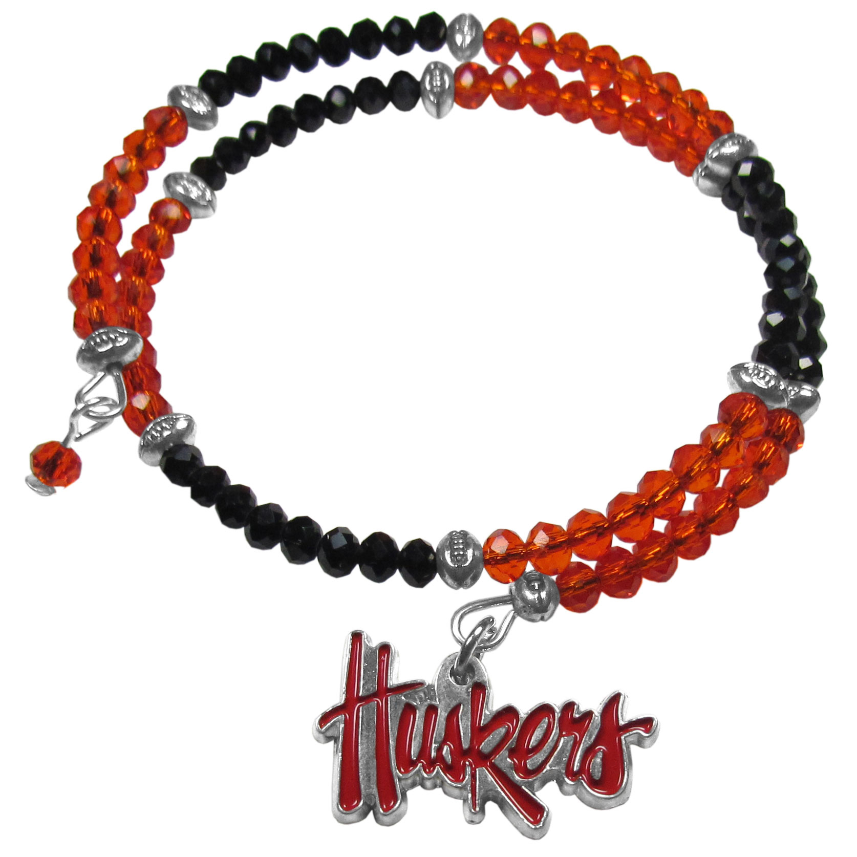Nebraska Cornhuskers Crystal Memory Wire Bracelet - Our Nebraska Cornhuskers memory wire crystal bracelet is trendy way to show off your love of the game. The double wrap bracelet is completely covered in 4 mm crystals that are broken up with adorable football beads creating a designer look with a sporty twist. The bracelet features a fully cast, metal team charm that has expertly enameled team colors. This fashion jewelry piece is a must-have for the die-hard fan that chic look that can dress up any outfit.