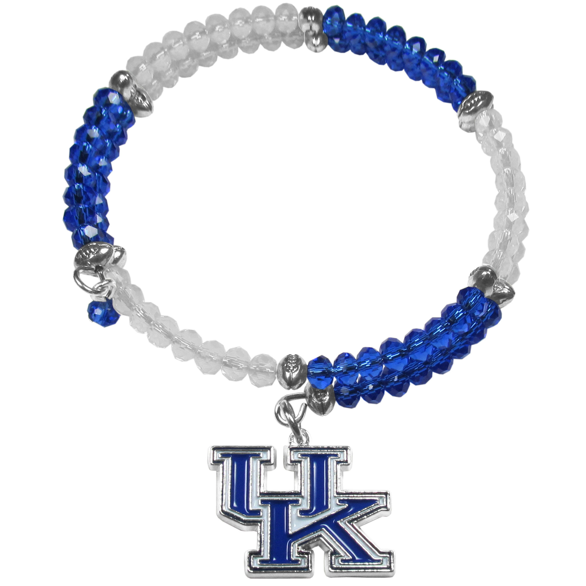 Kentucky Wildcats Crystal Memory Wire Bracelet - Our Kentucky Wildcats memory wire crystal bracelet is trendy way to show off your love of the game. The double wrap bracelet is completely covered in 4 mm crystals that are broken up with adorable football beads creating a designer look with a sporty twist. The bracelet features a fully cast, metal team charm that has expertly enameled team colors. This fashion jewelry piece is a must-have for the die-hard fan that chic look that can dress up any outfit.