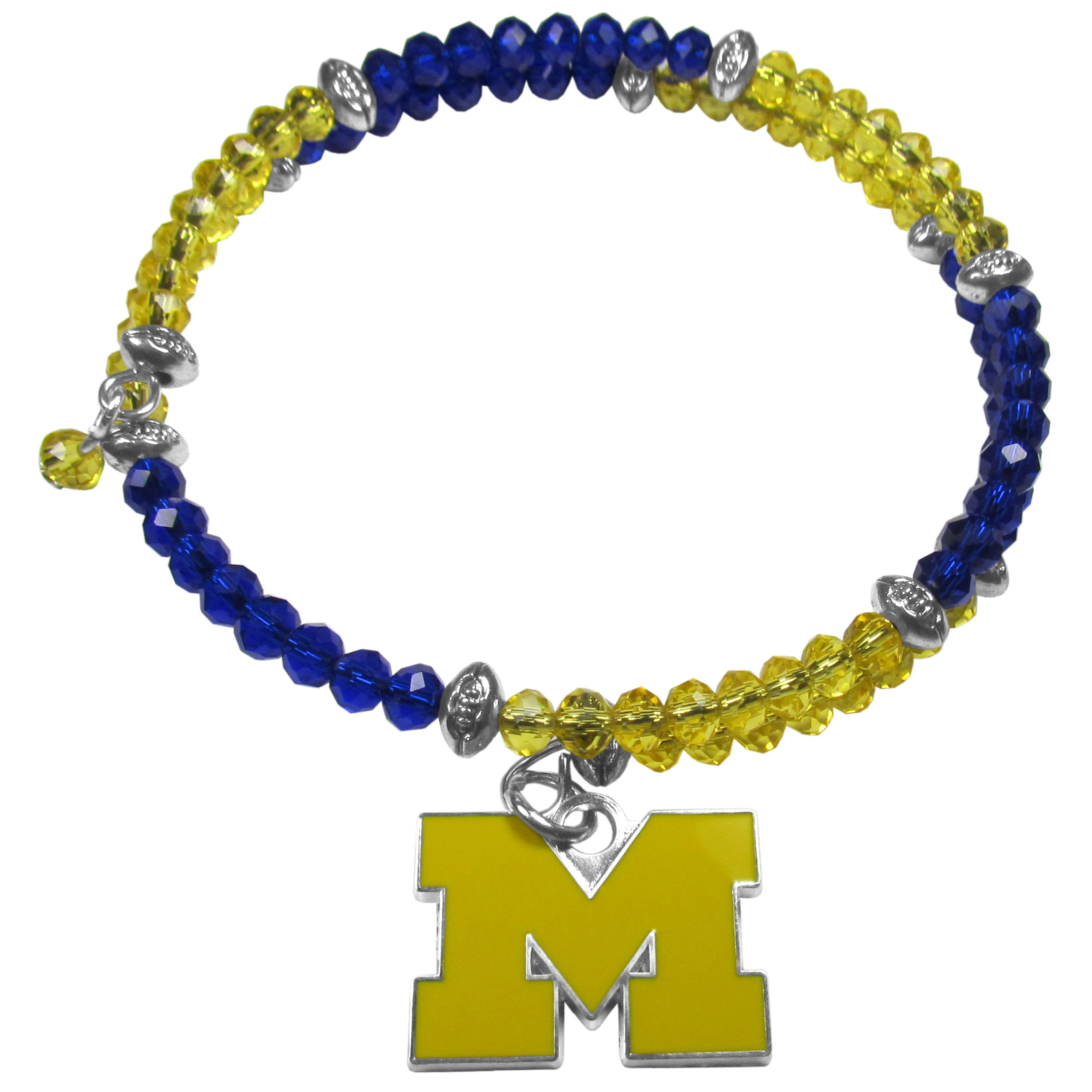 Michigan Wolverines Crystal Memory Wire Bracelet - Our Michigan Wolverines memory wire crystal bracelet is trendy way to show off your love of the game. The double wrap bracelet is completely covered in 4 mm crystals that are broken up with adorable football beads creating a designer look with a sporty twist. The bracelet features a fully cast, metal team charm that has expertly enameled team colors. This fashion jewelry piece is a must-have for the die-hard fan that chic look that can dress up any outfit.
