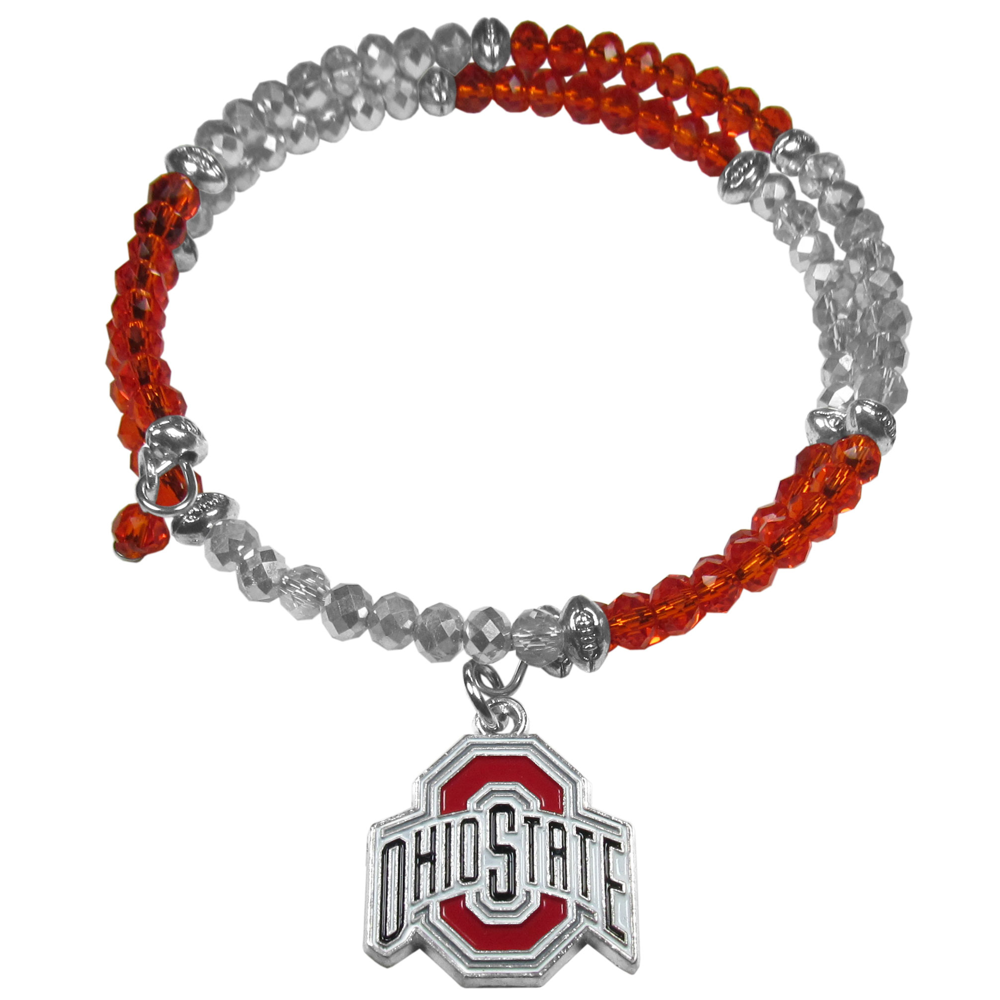 Ohio St. Buckeyes Crystal Memory Wire Bracelet - Our Ohio St. Buckeyes memory wire crystal bracelet is trendy way to show off your love of the game. The double wrap bracelet is completely covered in 4 mm crystals that are broken up with adorable football beads creating a designer look with a sporty twist. The bracelet features a fully cast, metal team charm that has expertly enameled team colors. This fashion jewelry piece is a must-have for the die-hard fan that chic look that can dress up any outfit.