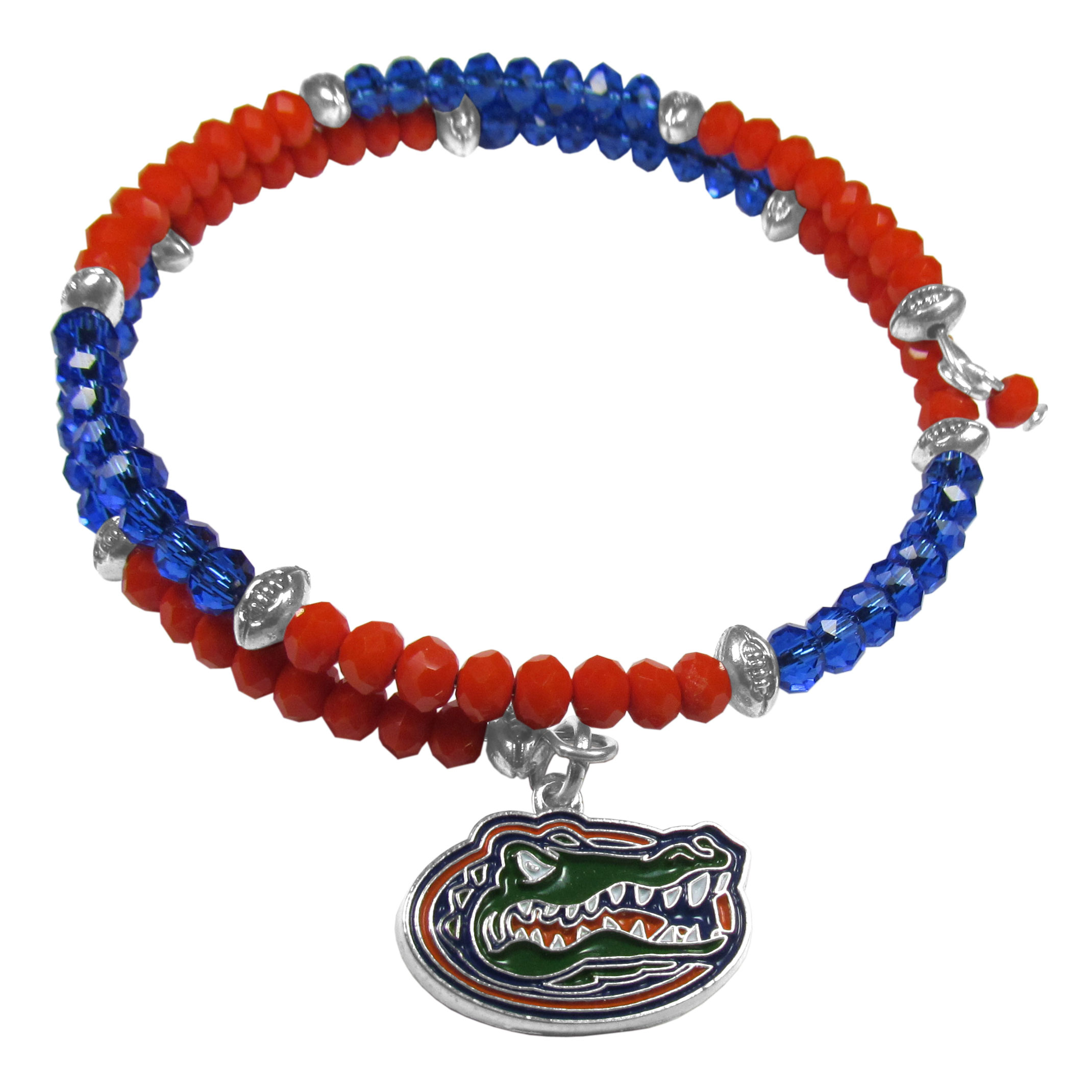 Florida Gators Crystal Memory Wire Bracelet - Our Florida Gators memory wire crystal bracelet is trendy way to show off your love of the game. The double wrap bracelet is completely covered in 4 mm crystals that are broken up with adorable football beads creating a designer look with a sporty twist. The bracelet features a fully cast, metal team charm that has expertly enameled team colors. This fashion jewelry piece is a must-have for the die-hard fan with chic style.