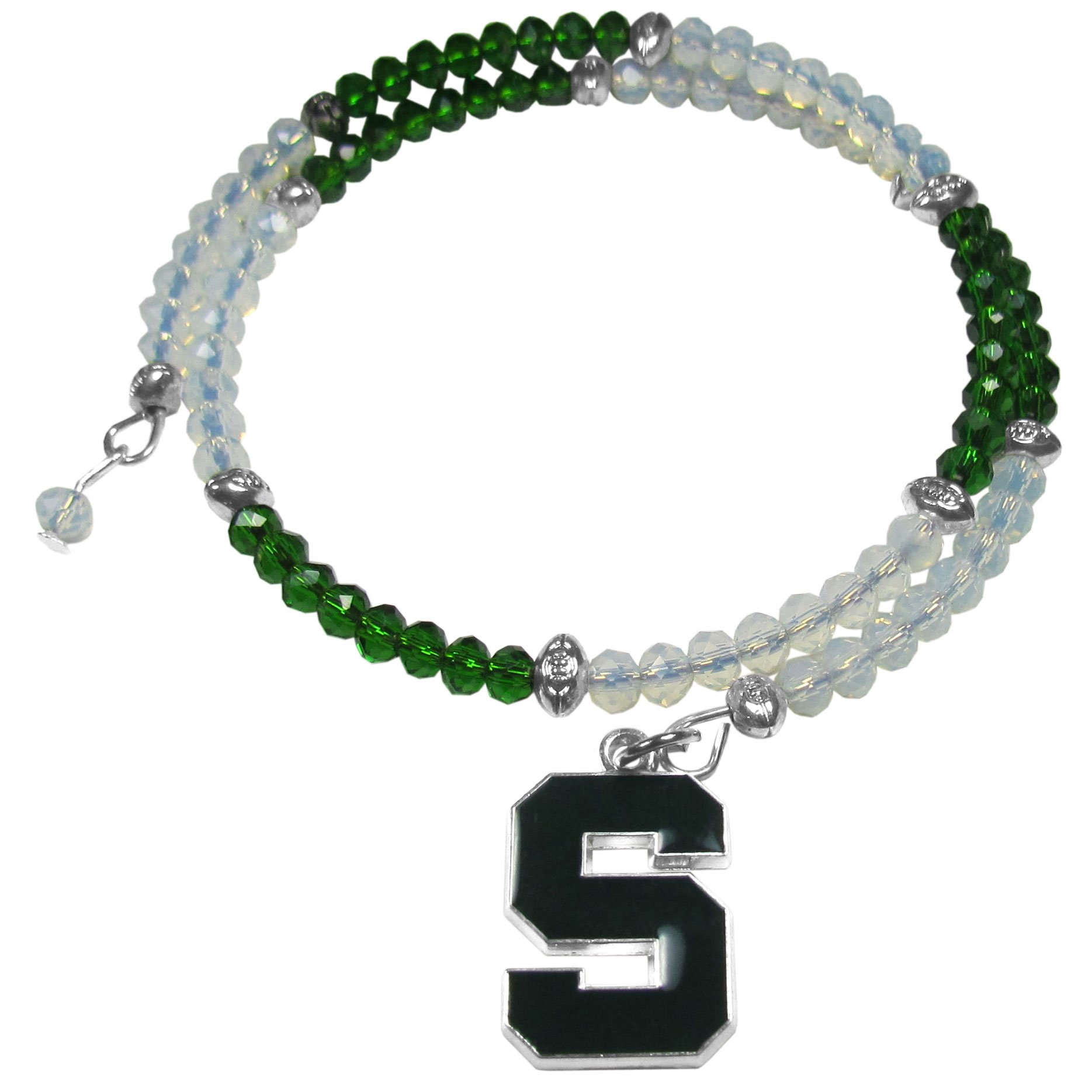 Michigan St. Spartans Crystal Memory Wire Bracelet - Our Michigan St. Spartans memory wire crystal bracelet is trendy way to show off your love of the game. The double wrap bracelet is completely covered in 4 mm crystals that are broken up with adorable football beads creating a designer look with a sporty twist. The bracelet features a fully cast, metal team charm that has expertly enameled team colors. This fashion jewelry piece is a must-have for the die-hard fan that chic look that can dress up any outfit.