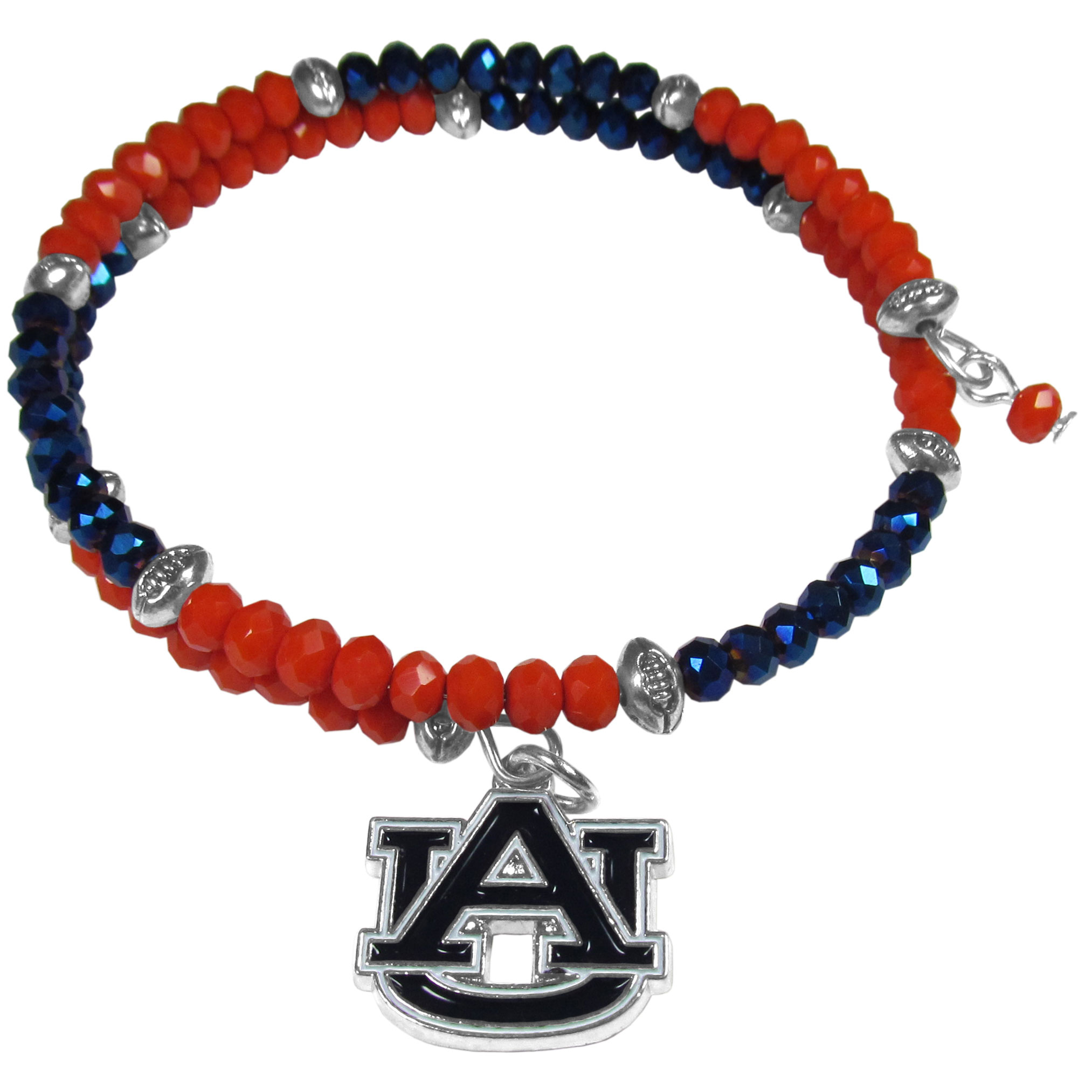 Auburn Tigers Crystal Memory Wire Bracelet - Our Auburn Tigers memory wire crystal bracelet is trendy way to show off your love of the game. The double wrap bracelet is completely covered in 4 mm crystals that are broken up with adorable football beads creating a designer look with a sporty twist. The bracelet features a fully cast, metal team charm that has expertly enameled team colors. This fashion jewelry piece is a must-have for the die-hard fan with chic style.