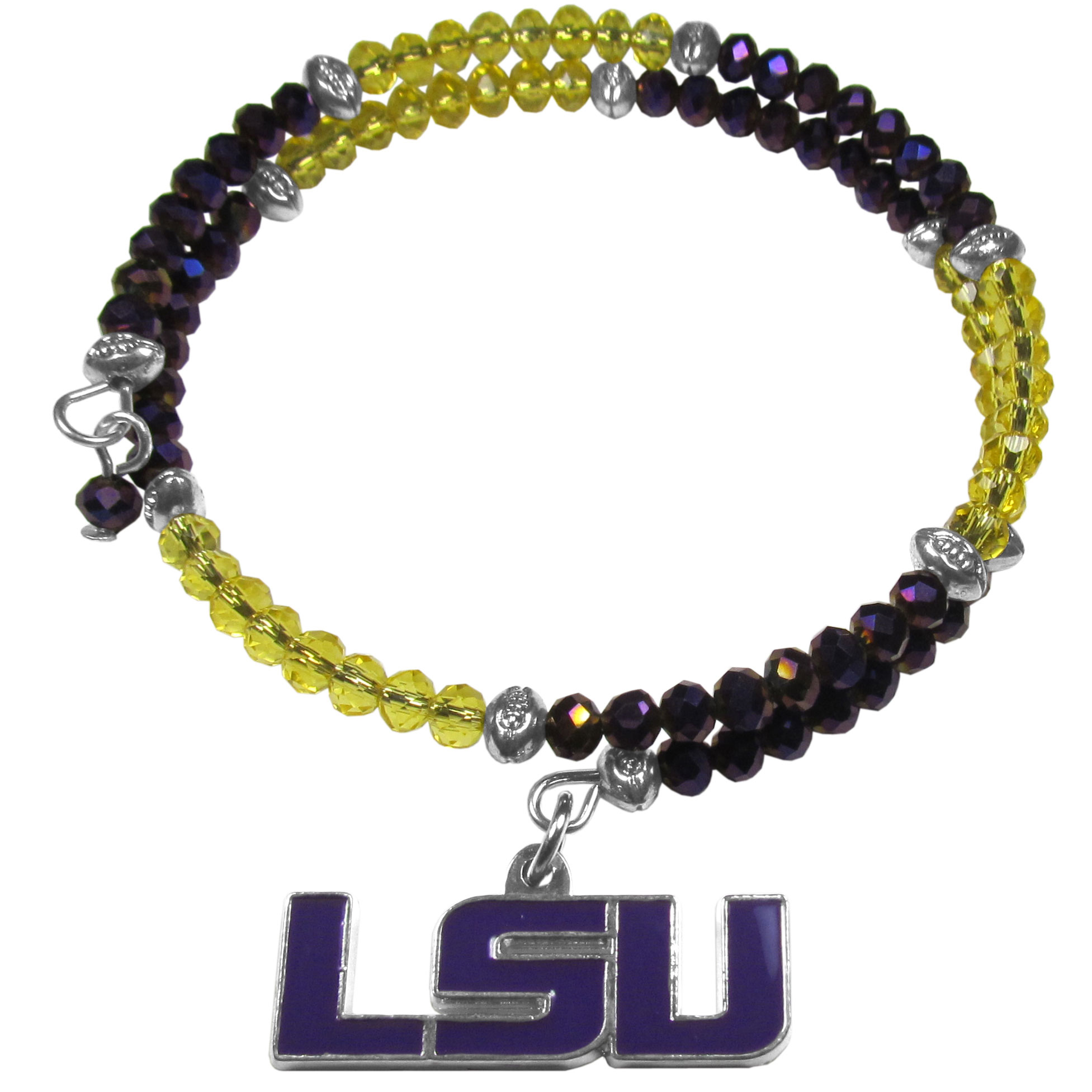 LSU Tigers Crystal Memory Wire Bracelet - Our LSU Tigers memory wire crystal bracelet is trendy way to show off your love of the game. The double wrap bracelet is completely covered in 4 mm crystals that are broken up with adorable football beads creating a designer look with a sporty twist. The bracelet features a fully cast, metal team charm that has expertly enameled team colors. This fashion jewelry piece is a must-have for the die-hard fan that chic look that can dress up any outfit.