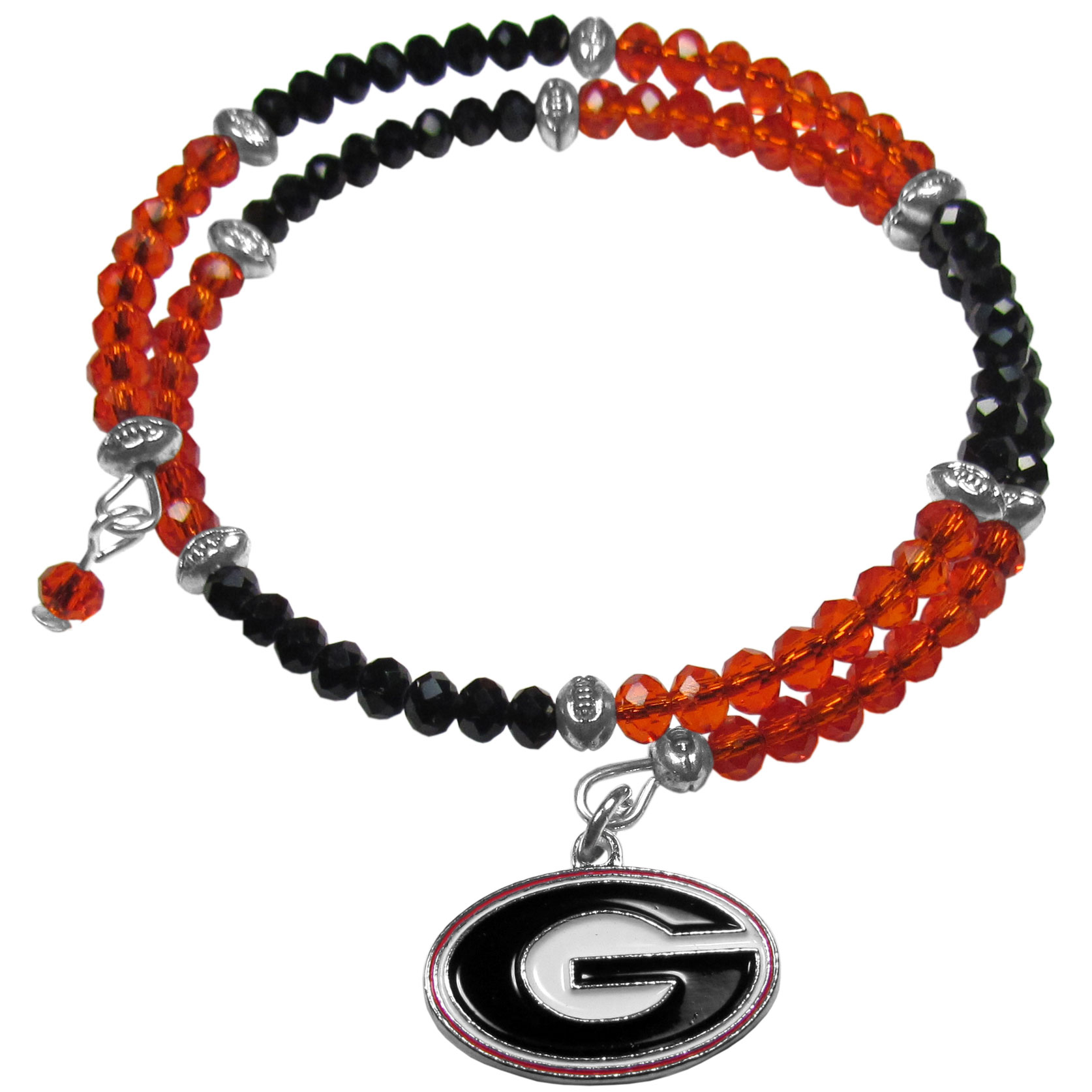 Georgia Bulldogs Crystal Memory Wire Bracelet - Our Georgia Bulldogs memory wire crystal bracelet is trendy way to show off your love of the game. The double wrap bracelet is completely covered in 4 mm crystals that are broken up with adorable football beads creating a designer look with a sporty twist. The bracelet features a fully cast, metal team charm that has expertly enameled team colors. This fashion jewelry piece is a must-have for the die-hard fan that chic look that can dress up any outfit.