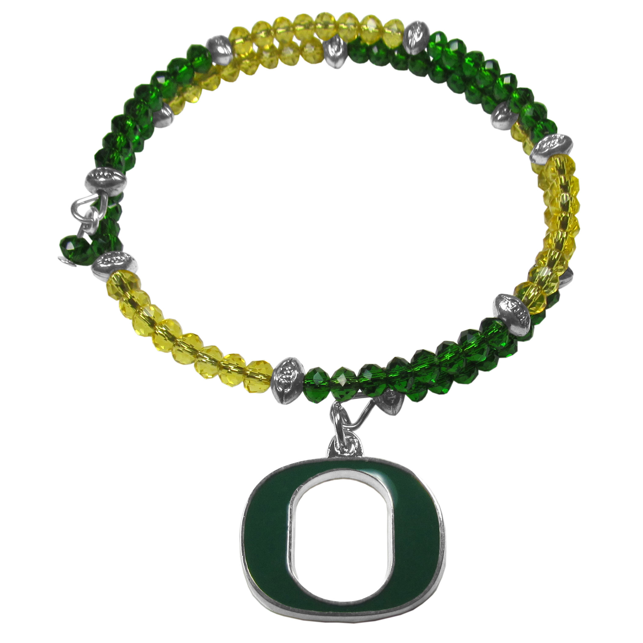 Oregon Ducks Crystal Memory Wire Bracelet - Our Oregon Ducks memory wire crystal bracelet is trendy way to show off your love of the game. The double wrap bracelet is completely covered in 4 mm crystals that are broken up with adorable football beads creating a designer look with a sporty twist. The bracelet features a fully cast, metal team charm that has expertly enameled team colors. This fashion jewelry piece is a must-have for the die-hard fan that chic look that can dress up any outfit.
