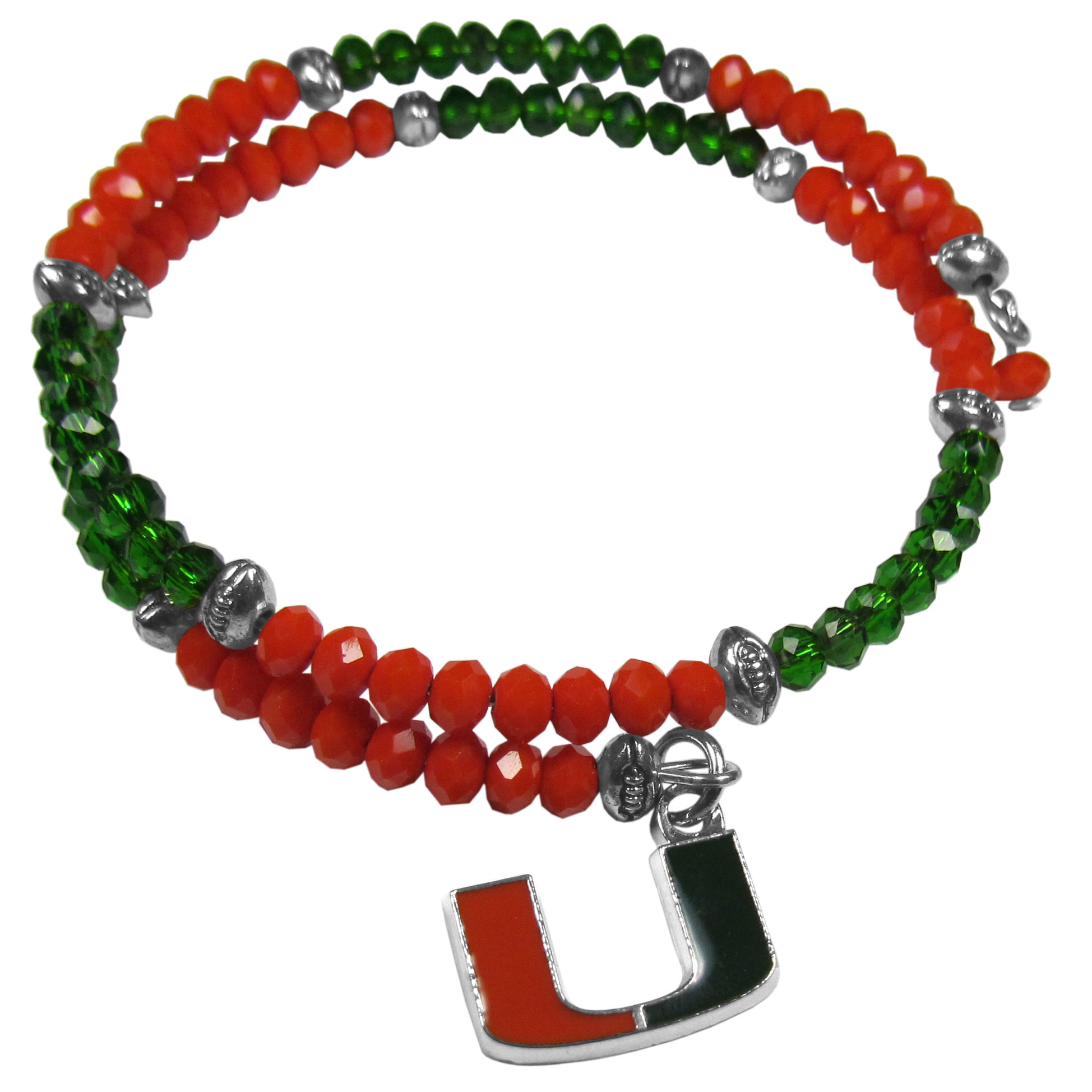 Miami Hurricanes Crystal Memory Wire Bracelet - Our Miami Hurricanes memory wire crystal bracelet is trendy way to show off your love of the game. The double wrap bracelet is completely covered in 4 mm crystals that are broken up with adorable football beads creating a designer look with a sporty twist. The bracelet features a fully cast, metal team charm that has expertly enameled team colors. This fashion jewelry piece is a must-have for the die-hard fan with chic style.