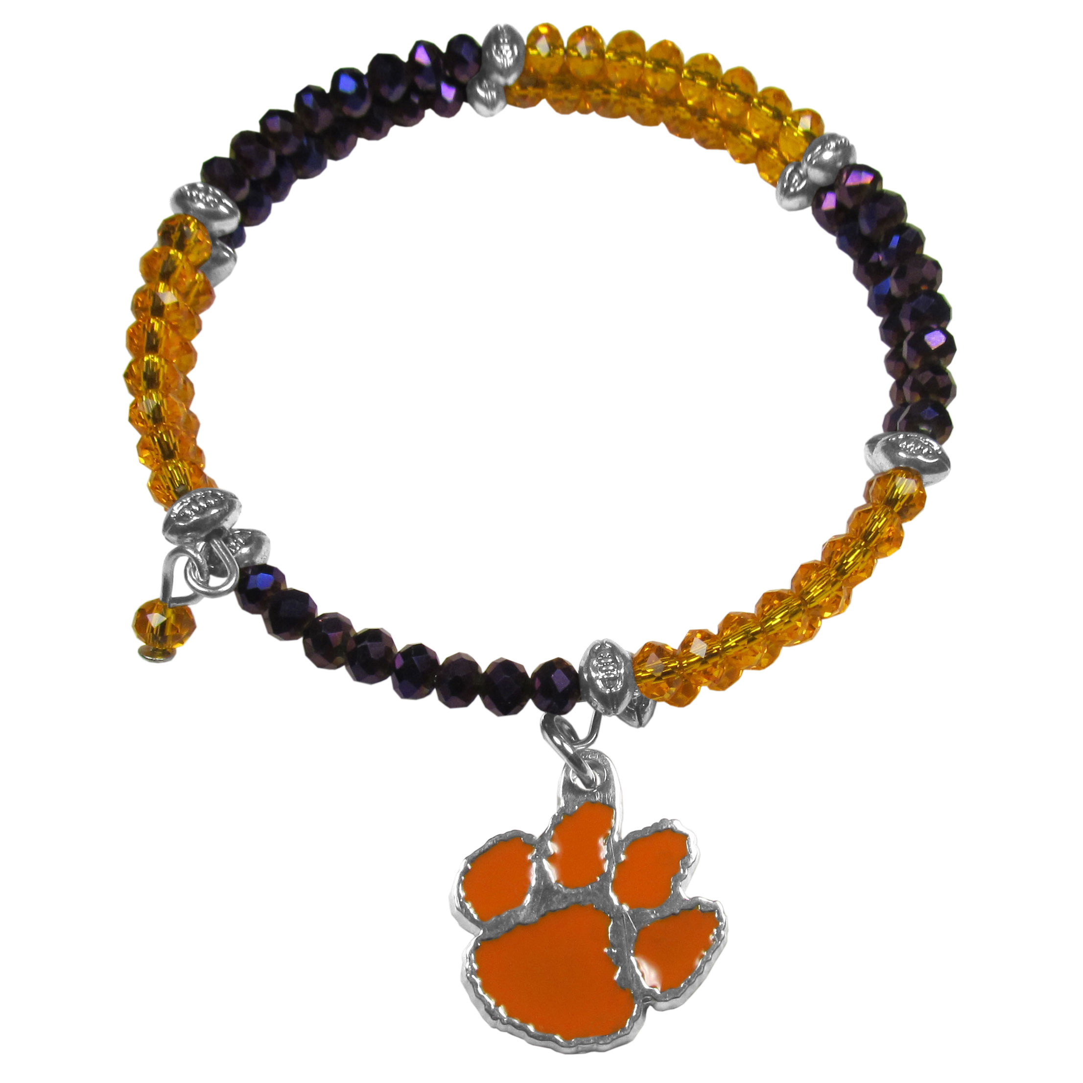 Clemson Tigers Crystal Memory Wire Bracelet - Our Clemson Tigers memory wire crystal bracelet is trendy way to show off your love of the game. The double wrap bracelet is completely covered in 4 mm crystals that are broken up with adorable football beads creating a designer look with a sporty twist. The bracelet features a fully cast, metal team charm that has expertly enameled team colors. This fashion jewelry piece is a must-have for the die-hard fan that chic look that can dress up any outfit.