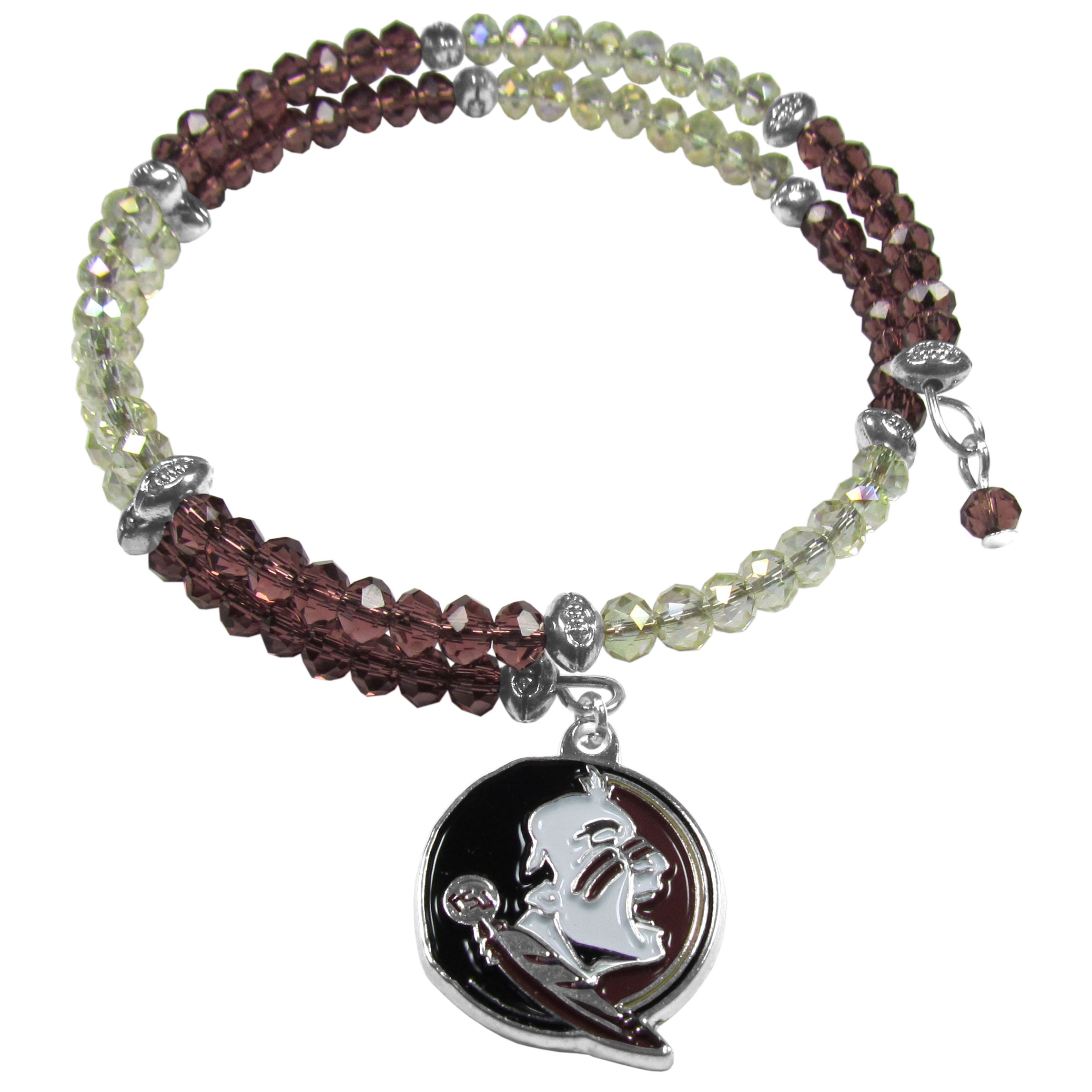 Florida St. Seminoles Crystal Memory Wire Bracelet - Our Florida St. Seminoles memory wire crystal bracelet is trendy way to show off your love of the game. The double wrap bracelet is completely covered in 4 mm crystals that are broken up with adorable football beads creating a designer look with a sporty twist. The bracelet features a fully cast, metal team charm that has expertly enameled team colors. This fashion jewelry piece is a must-have for the die-hard fan with chic style.