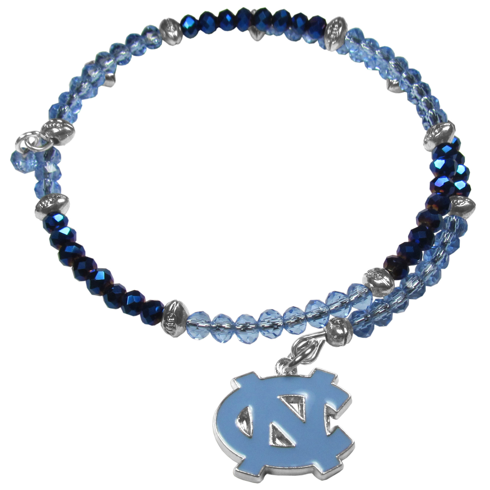 N. Carolina Tar Heels Crystal Memory Wire Bracelet - Our N. Carolina Tar Heels memory wire crystal bracelet is trendy way to show off your love of the game. The double wrap bracelet is completely covered in 4 mm crystals that are broken up with adorable football beads creating a designer look with a sporty twist. The bracelet features a fully cast, metal team charm that has expertly enameled team colors. This fashion jewelry piece is a must-have for the die-hard fan that chic look that can dress up any outfit.