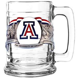 College Tankard - Arizona Wildcats - Our Arizona Wildcats college colonial tankard is a college team collector's favorite with sculpted and enameled emblem depicting team logo and campus landmarks. 15 oz capacity. Check out our entire line of  college glassware! Thank you for shopping with CrazedOutSports.com