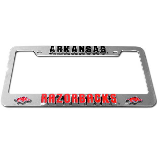 Arkansas Razorbacks Tag Frame - Our Arkansas Razorbacks college license plate tag frames are made of durable zinc and are chrome plated. They feature finely carved 3D detail. Check out our extensive line of  automotive merchandise! Thank you for shopping with CrazedOutSports.com