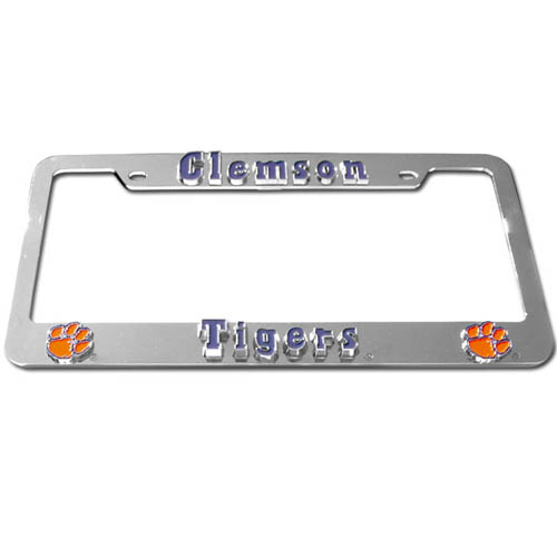Clemson Tigers Tag Frame - Our Clemson Tigers college license plate tag frames are made of durable zinc and are chrome plated. They feature finely carved 3D detail. Check out our extensive line of  automotive merchandise! Thank you for shopping with CrazedOutSports.com