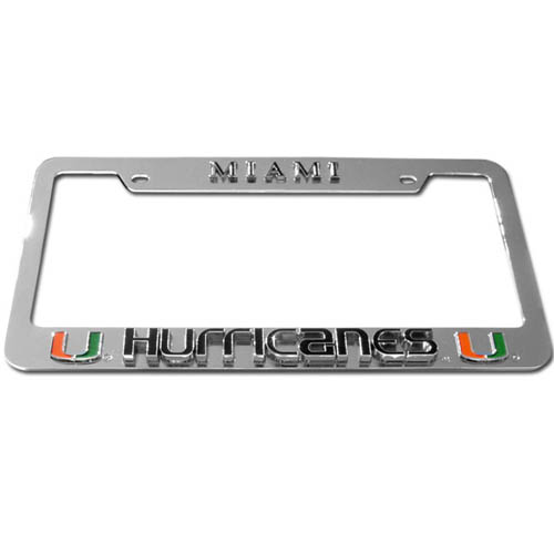 Miami Hurricanes License Plate Tag Frame - Miami Hurricanes License Plate Tag Frames are made of durable zinc and the Miami Hurricanes License Plate Tag Frames are chrome plated. Miami Hurricanes License Plate Tag Frame features finely carved 3D detail. Check out our extensive line of  automotive merchandise! Thank you for shopping with CrazedOutSports.com