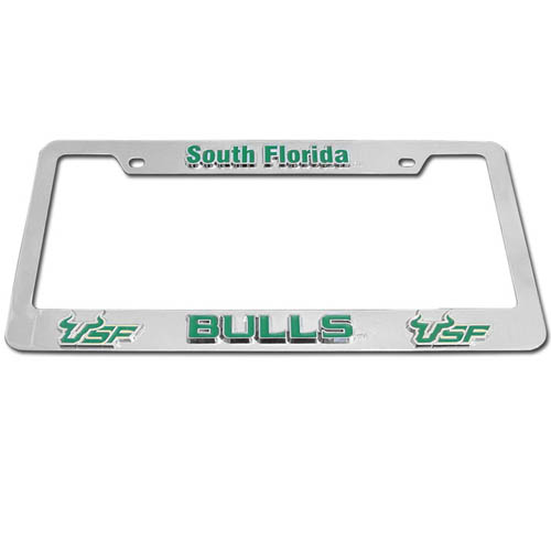 S Florida Bulls Tag Frame - Our college license plate tag frames are made of durable zinc and are chrome plated. They feature finely carved 3D detail. Check out our extensive line of  automotive merchandise! Thank you for shopping with CrazedOutSports.com