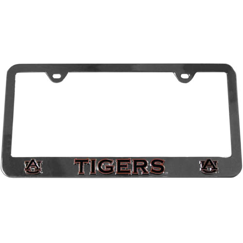 Auburn Tigers Tag Frame - This collegiate steel tag frame has a 3D enameled Auburn Tigers school logo. Thank you for shopping with CrazedOutSports.com