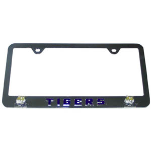 LSU Tigers Tag Frame - This LSU Tigers collegiate steel tag frame has a 3D enameled school logo. Thank you for shopping with CrazedOutSports.com