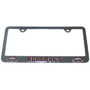 Mississippi St. Tag Frame - This collegiate steel tag frame has a 3D enameled school logo. Thank you for shopping with CrazedOutSports.com