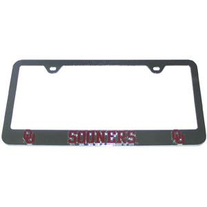 Oklahoma Tag Frame - This collegiate steel tag frame has a 3D enameled school logo. Thank you for shopping with CrazedOutSports.com