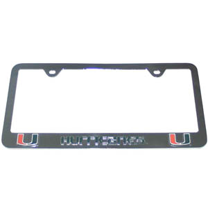 Miami Hurricanes License Plate Tag Frame - This collegiate steel Miami Hurricanes License Plate Tag Frame has a 3D enameled school logo. Thank you for shopping with CrazedOutSports.com