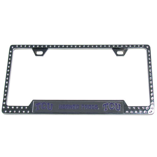 TCU Bling Tag Frame - Our collegiate bling tag frame are the perfect balance of chrome and glitz. The chrome tag frame is framed in crystals with an enameled plate featuring the school's primary logo and name. Thank you for shopping with CrazedOutSports.com