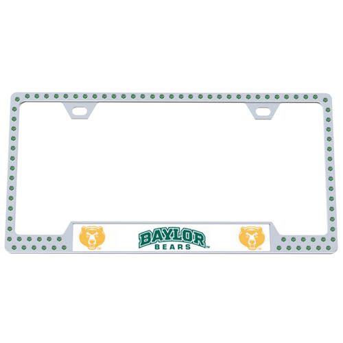 Baylor Bears Bling Tag Frame - Our collegiate bling tag frame are the perfect balance of chrome and glitz. The chrome tag frame is framed in crystals with an enameled plate featuring the Baylor Bears logo and name. Thank you for shopping with CrazedOutSports.com