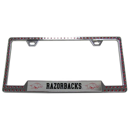 Arkansas Bling Tag Frame - Our collegiate bling tag frame are the perfect balance of chrome and glitz. The chrome tag frame is framed in crystals with an enameled plate featuring the Arkansas Razorbacks school's primary logo and name. Thank you for shopping with CrazedOutSports.com