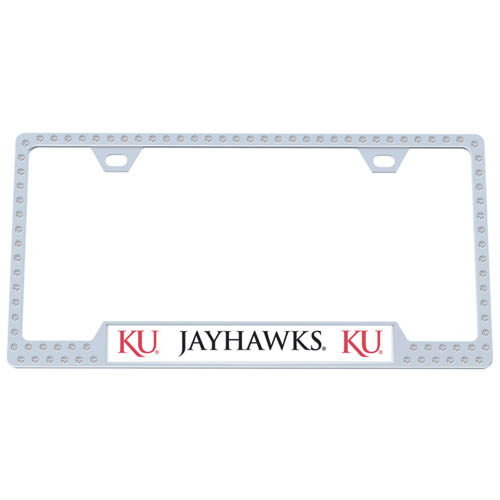 Kansas Jayhawks Bling License Plate Tag Frame - Kansas Jayhawks collegiate bling license plate tag frame are the perfect balance of chrome and glitz. The chrome tag frame is framed in crystals with an enameled plate featuring the school's primary logo and name. Thank you for shopping with CrazedOutSports.com
